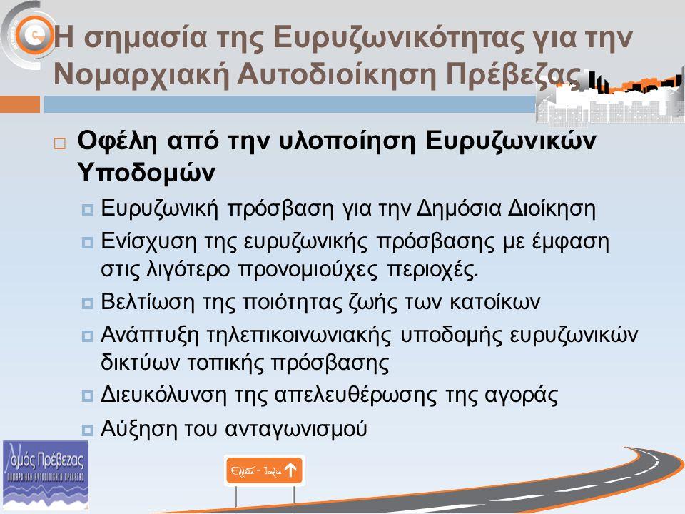 Η σημασία της Ευρυζωνικότητας για την Νομαρχιακή Αυτοδιοίκηση Πρέβεζας  Οφέλη από την υλοποίηση Ευρυζωνικών Υποδομών  Ευρυζωνική πρόσβαση για την Δη