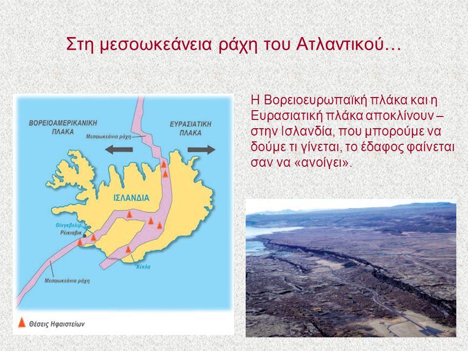 Στη μεσοωκεάνεια ράχη του Ατλαντικού… Η Βορειοευρωπαϊκή πλάκα και η Ευρασιατική πλάκα αποκλίνουν – στην Ισλανδία, που μπορούμε να δούμε τι γίνεται, το έδαφος φαίνεται σαν να «ανοίγει».
