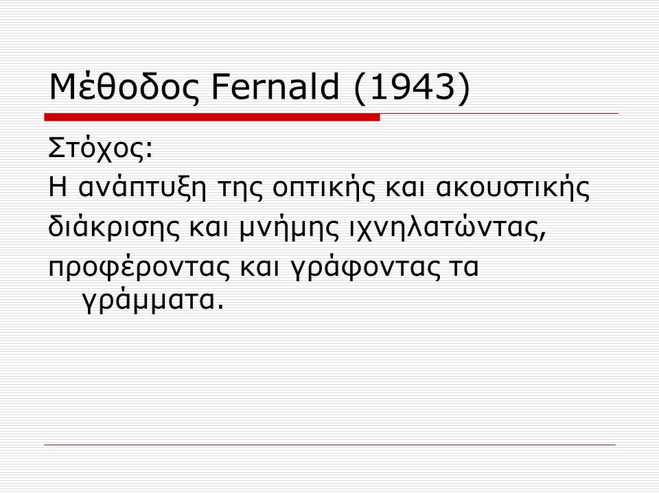 Μέθοδος Fernald (1943) Στόχος: Η ανάπτυξη της οπτικής και ακουστικής διάκρισης και μνήμης ιχνηλατώντας, προφέροντας και γράφοντας τα γράμματα.