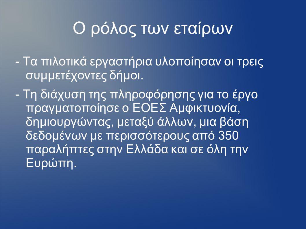 Ο ρόλος των εταίρων - Τα πιλοτικά εργαστήρια υλοποίησαν οι τρεις συμμετέχοντες δήμοι.