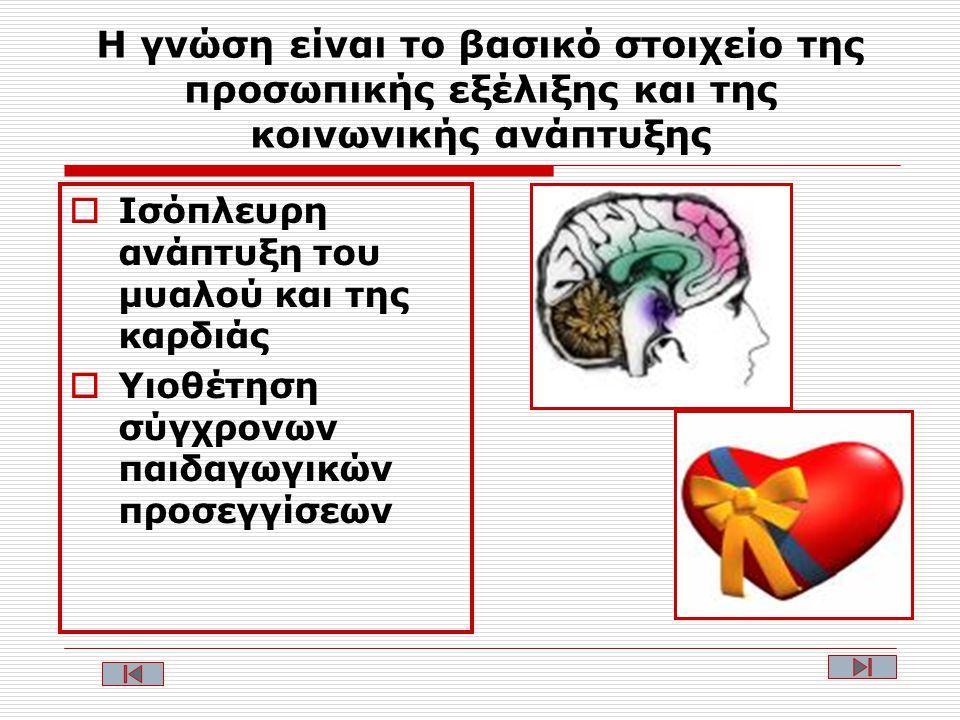 Η γνώση είναι το βασικό στοιχείο της προσωπικής εξέλιξης και της κοινωνικής ανάπτυξης  Ισόπλευρη ανάπτυξη του μυαλού και της καρδιάς  Υιοθέτηση σύγχρονων παιδαγωγικών προσεγγίσεων