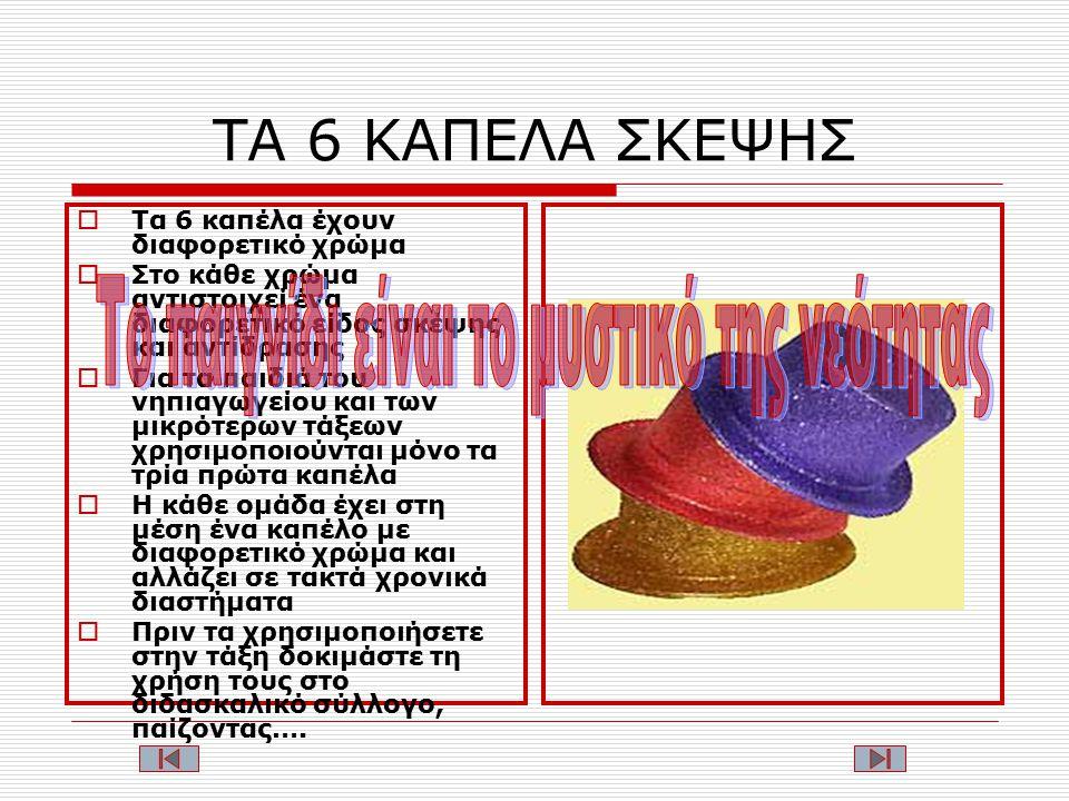 ΤΑ 6 ΚΑΠΕΛΑ ΣΚΕΨΗΣ  Τα 6 καπέλα έχουν διαφορετικό χρώμα  Στο κάθε χρώμα αντιστοιχεί ένα διαφορετικό είδος σκέψης και αντίδρασης  Για τα παιδιά του νηπιαγωγείου και των μικρότερων τάξεων χρησιμοποιούνται μόνο τα τρία πρώτα καπέλα  H κάθε ομάδα έχει στη μέση ένα καπέλο με διαφορετικό χρώμα και αλλάζει σε τακτά χρονικά διαστήματα  Πριν τα χρησιμοποιήσετε στην τάξη δοκιμάστε τη χρήση τους στο διδασκαλικό σύλλογο, παίζοντας….