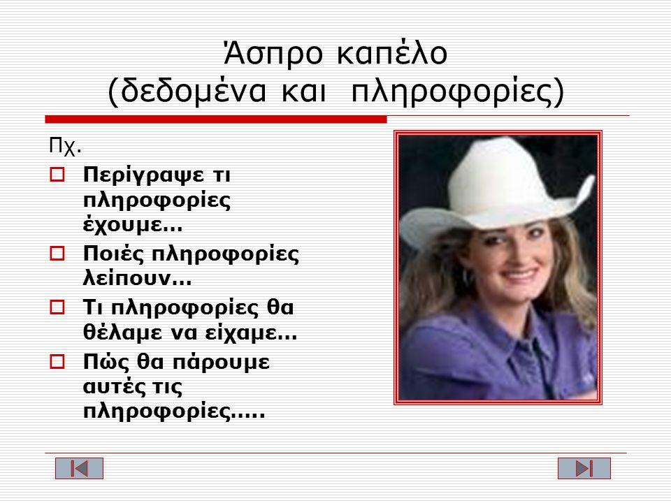 Άσπρο καπέλο (δεδομένα και πληροφορίες) Πχ.