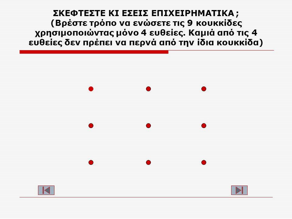 ΣΚΕΦΤΕΣΤΕ ΚΙ ΕΣΕΙΣ ΕΠΙΧΕΙΡΗΜΑΤΙΚΑ ; (Βρέστε τρόπο να ενώσετε τις 9 κουκκίδες χρησιμοποιώντας μόνο 4 ευθείες.