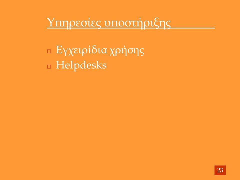 Υπηρεσίες υποστήριξης  Εγχειρίδια χρήσης  Helpdesks 23