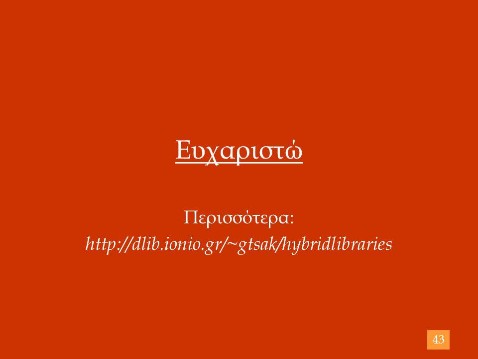 Ευχαριστώ Περισσότερα: http://dlib.ionio.gr/~gtsak/hybridlibraries 43
