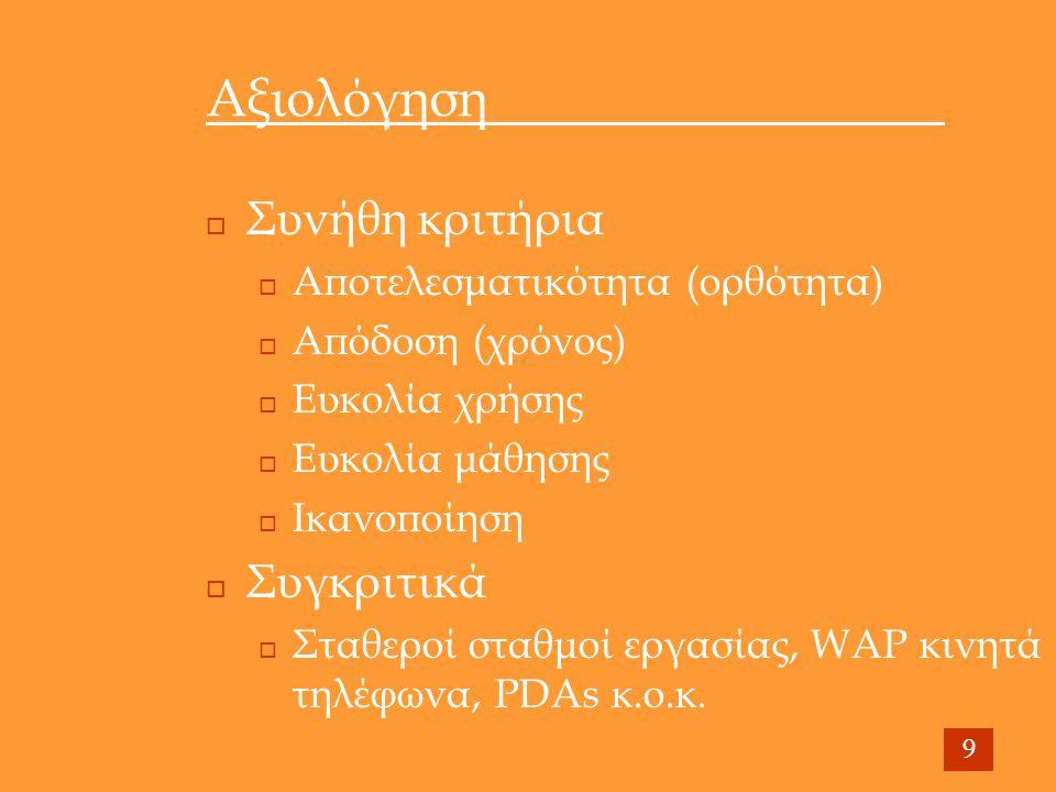 Αξιολόγηση  Συνήθη κριτήρια  Αποτελεσματικότητα (ορθότητα)  Απόδοση (χρόνος)  Ευκολία χρήσης  Ευκολία μάθησης  Ικανοποίηση  Συγκριτικά  Σταθεροί σταθμοί εργασίας, WAP κινητά τηλέφωνα, PDAs κ.ο.κ.