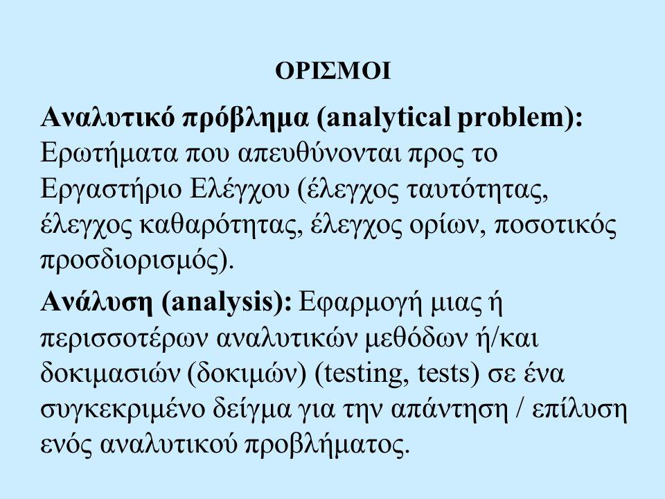 ΟΡΙΣΜΟΙ Αναλυτικό πρόβλημα (analytical problem): Ερωτήματα που απευθύνονται προς το Εργαστήριο Ελέγχου (έλεγχος ταυτότητας, έλεγχος καθαρότητας, έλεγχος ορίων, ποσοτικός προσδιορισμός).