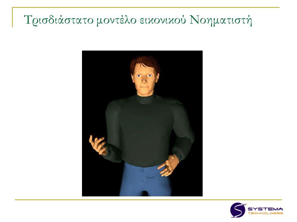 Στόχος – Αποτέλεσμα: Εκπαιδευτική πλατφόρμα πολλαπλών χρήσεων για τη διδασκαλία στην Ελληνική Νοηματική Γλώσσα (ΕΝΓ), εκμεταλλευόμενο τη δυνατότητα χρήσης τρισδιάστατου μοντέλου και συνθετικής εικόνας για το νοηματισμό.