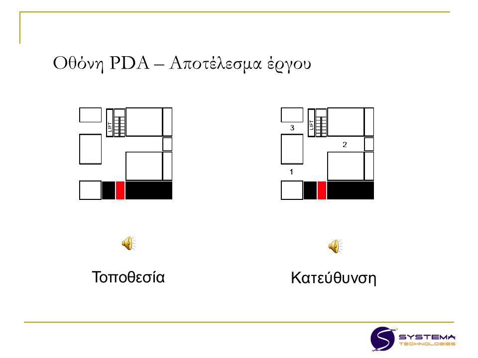 Οθόνη PDA – Αποτέλεσμα έργου Τοποθεσία Κατεύθυνση