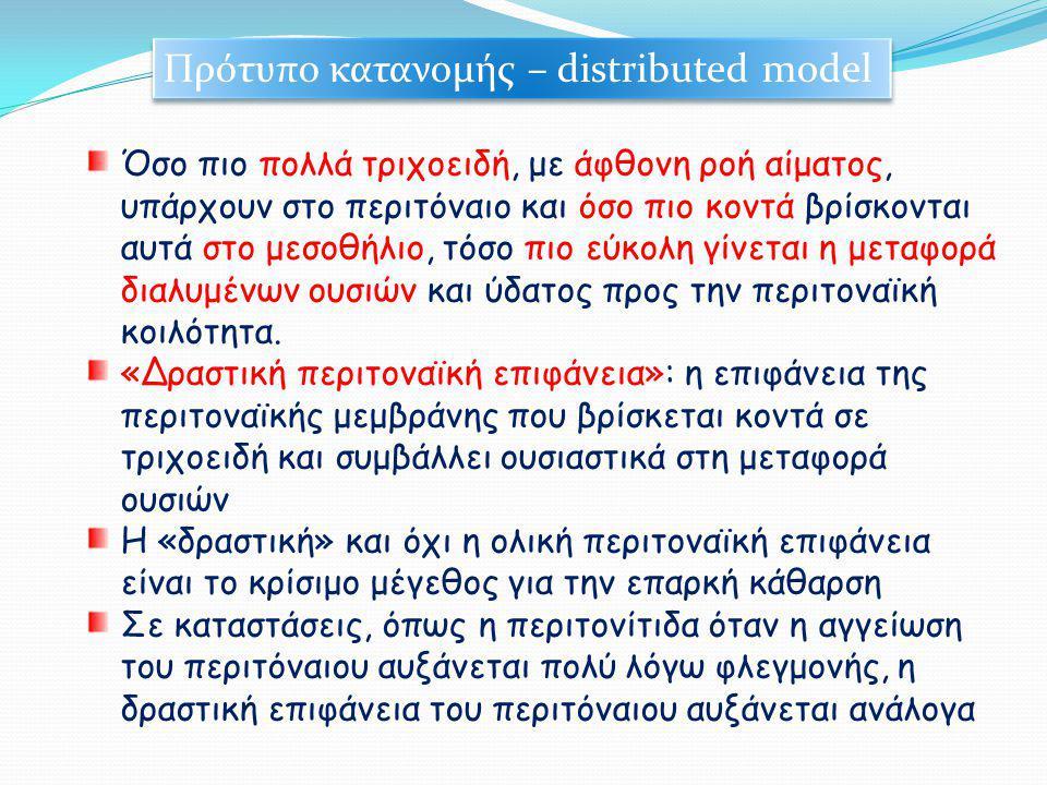 Πρότυπο κατανομής – distributed model Όσο πιο πολλά τριχοειδή, με άφθονη ροή αίματος, υπάρχουν στο περιτόναιο και όσο πιο κοντά βρίσκονται αυτά στο με