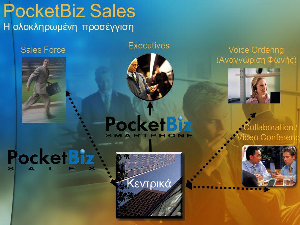 PocketBiz Sales Η ολοκληρωμένη προσέγγιση Κεντρικά Sales Force Executives Collaboration / Video Conference Voice Ordering (Αναγνώριση Φωνής)