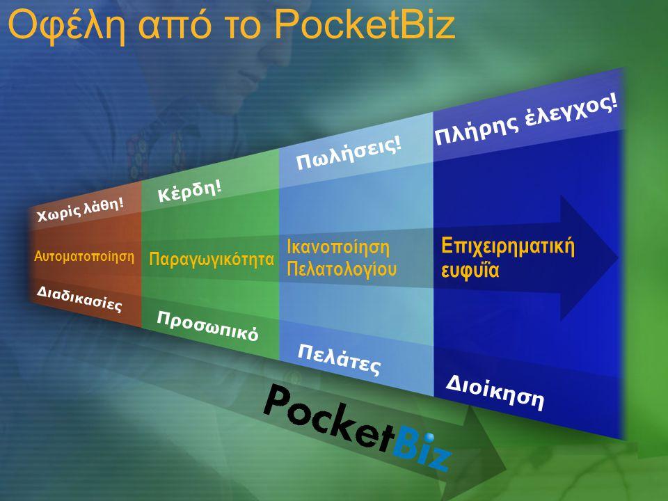 Οφέλη από το PocketBiz Παραγωγικότητα Αυτοματοποίηση Ικανοποίηση Πελατολογίου Επιχειρηματική ευφυΐα Πελάτες Προσωπικό Διοίκηση Πωλήσεις.