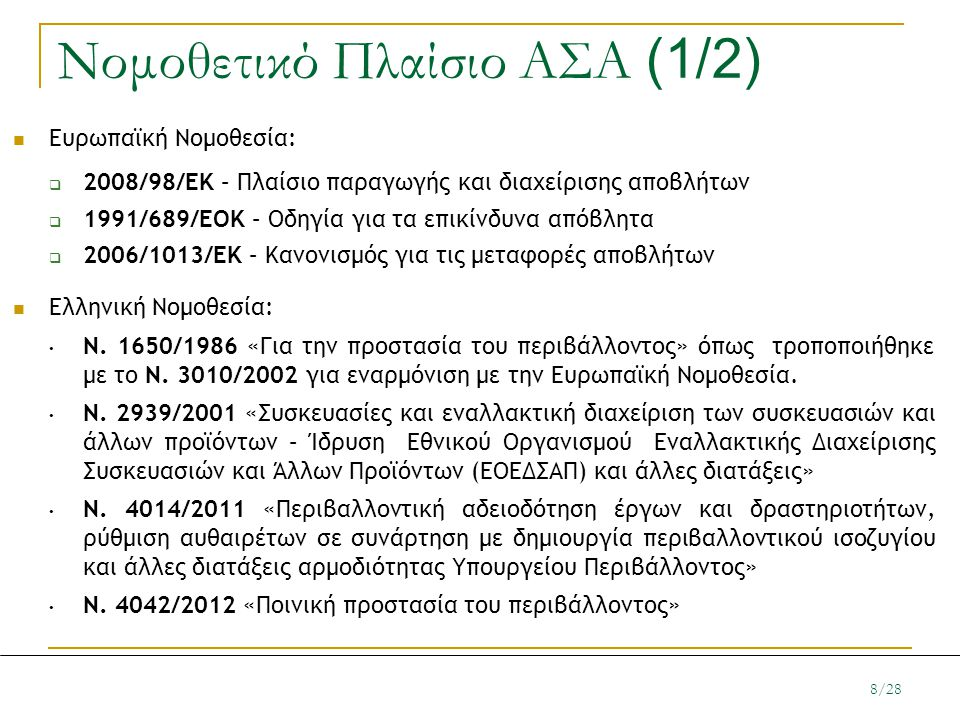 Νομοθετικό Πλαίσιο ΑΣΑ (1/2) Ευρωπαϊκή Νομοθεσία:  2008/98/ΕΚ – Πλαίσιο παραγωγής και διαχείρισης αποβλήτων  1991/689/ΕΟΚ – Οδηγία για τα επικίνδυνα