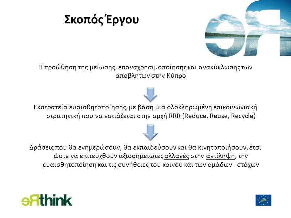 Σκοπός Έργου Η προώθηση της μείωσης, επαναχρησιμοποίησης και ανακύκλωσης των αποβλήτων στην Κύπρο Εκστρατεία ευαισθητοποίησης, με βάση μια ολοκληρωμένη επικοινωνιακή στρατηγική που να εστιάζεται στην αρχή RRR (Reduce, Reuse, Recycle) Δράσεις που θα ενημερώσουν, θα εκπαιδεύσουν και θα κινητοποιήσουν, έτσι ώστε να επιτευχθούν αξιοσημείωτες αλλαγές στην αντίληψη, την ευαισθητοποίηση και τις συνήθειες του κοινού και των ομάδων - στόχων