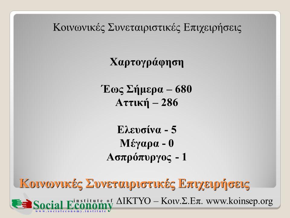 Κοινωνικές Συνεταιριστικές Επιχειρήσεις ΔΙΚΤΥΟ – Κοιν.Σ.Επ. www.koinsep.org Χαρτογράφηση Έως Σήμερα – 680 Αττική – 286 Ελευσίνα - 5 Μέγαρα - 0 Ασπρόπυ