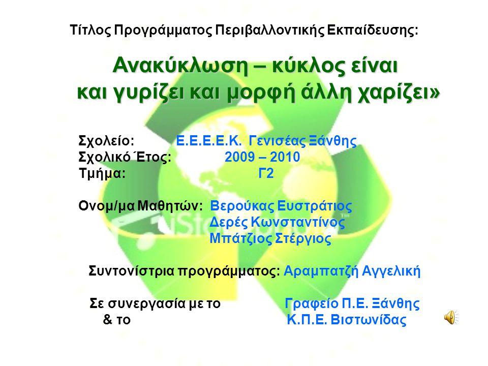 Τίτλος Προγράμματος Περιβαλλοντικής Εκπαίδευσης: Σχολείο: Ε.Ε.Ε.Ε.Κ.