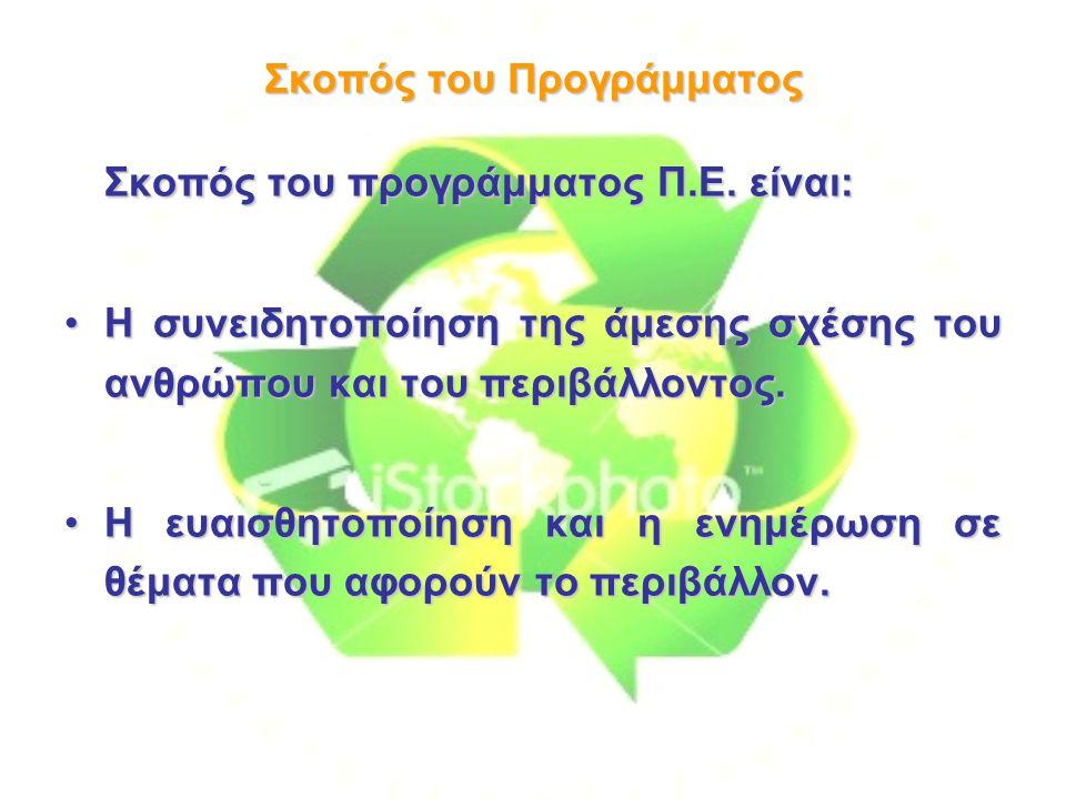 Σκοπός του Προγράμματος Σκοπός του προγράμματος Π.Ε.