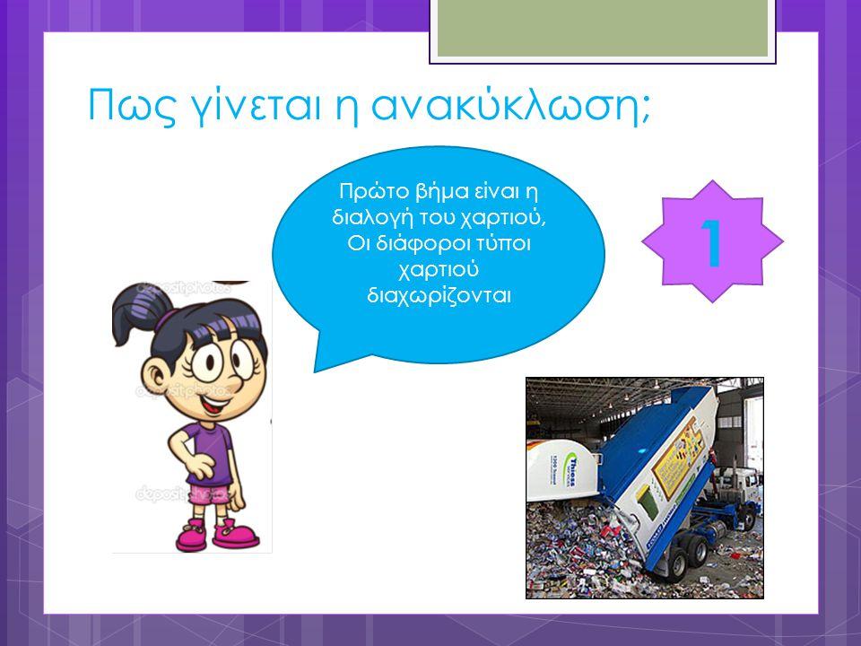 Πως γίνεται η ανακύκλωση; Πρώτο βήμα είναι η διαλογή του χαρτιού, Οι διάφοροι τύποι χαρτιού διαχωρίζονται 1