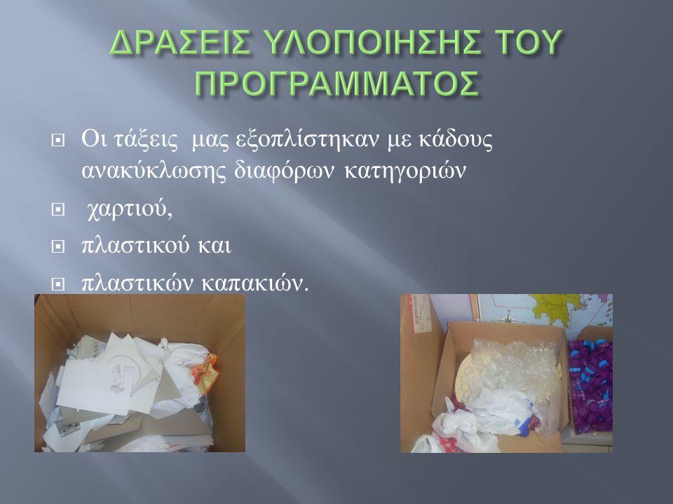  Οι τάξεις μας εξοπλίστηκαν με κάδους ανακύκλωσης διαφόρων κατηγοριών  χαρτιού,  πλαστικού και  πλαστικών καπακιών.