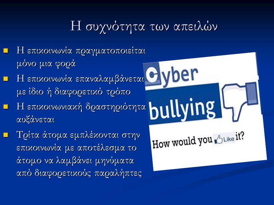 Αντιμετώπιση Διαδικτυακού εκφοβισμού Αγνόηση ενοχλητικών μηνυμάτων, σε περίπτωση ωστόσο απειλών συνιστάται αναφορά των μηνυμάτων και λήψη προληπτικών μέτρων.