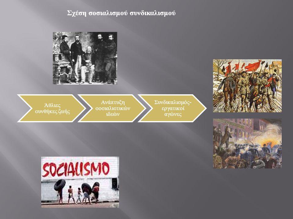 Ανάπτυξη σοσιαλιστικών ιδεών - συνδικαλισμού Οι άθλιες συνθήκες εργασίας και η υπερεκμετάλλευση οδήγησαν στην ανάπτυξη των σοσιαλιστικών ιδεών, των ερ