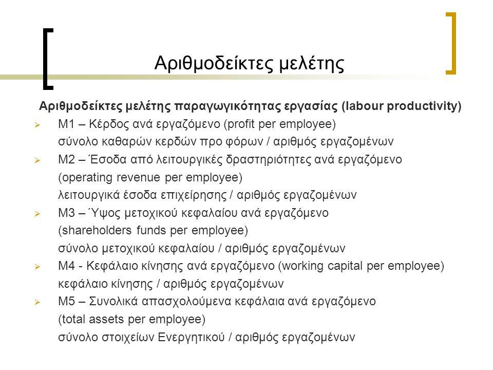 Αριθμοδείκτες μελέτης Αριθμοδείκτες μελέτης παραγωγικότητας εργασίας (labour productivity)  M1 – Κέρδος ανά εργαζόμενο (profit per employee) σύνολο καθαρών κερδών προ φόρων / αριθμός εργαζομένων  M2 – Έσοδα από λειτουργικές δραστηριότητες ανά εργαζόμενο (operating revenue per employee) λειτουργικά έσοδα επιχείρησης / αριθμός εργαζομένων  M3 – Ύψος μετοχικού κεφαλαίου ανά εργαζόμενο (shareholders funds per employee) σύνολο μετοχικού κεφαλαίου / αριθμός εργαζομένων  M4 - Κεφάλαιο κίνησης ανά εργαζόμενο (working capital per employee) κεφάλαιο κίνησης / αριθμός εργαζομένων  M5 – Συνολικά απασχολούμενα κεφάλαια ανά εργαζόμενο (total assets per employee) σύνολο στοιχείων Ενεργητικού / αριθμός εργαζομένων