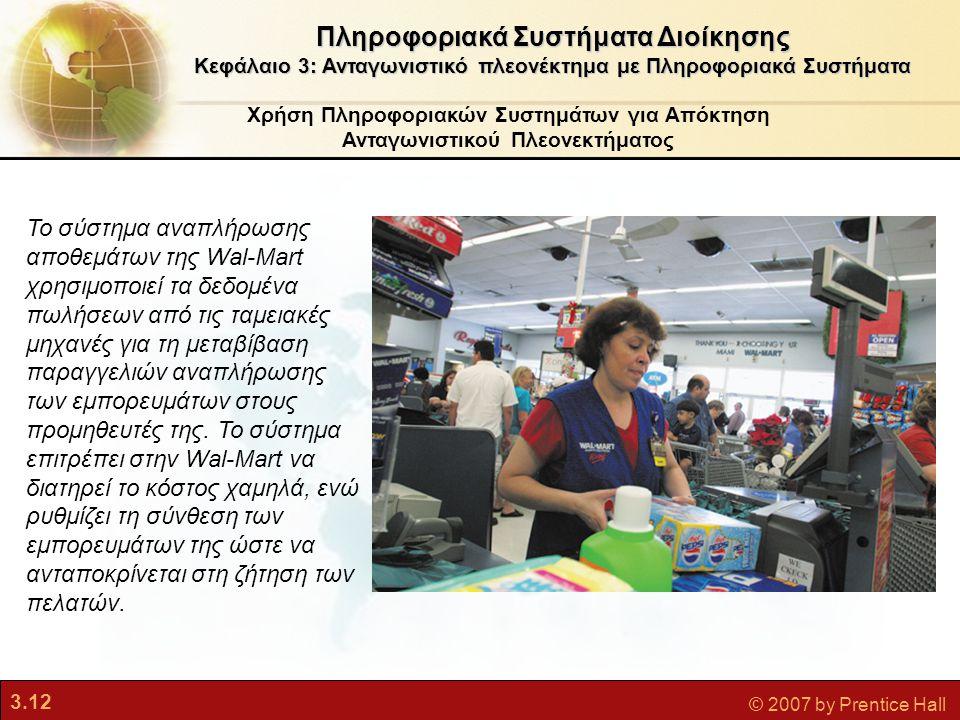 3.12 © 2007 by Prentice Hall Χρήση Πληροφοριακών Συστημάτων για Απόκτηση Ανταγωνιστικού Πλεονεκτήματος Πληροφοριακά Συστήματα Διοίκησης Κεφάλαιο 3: Αν
