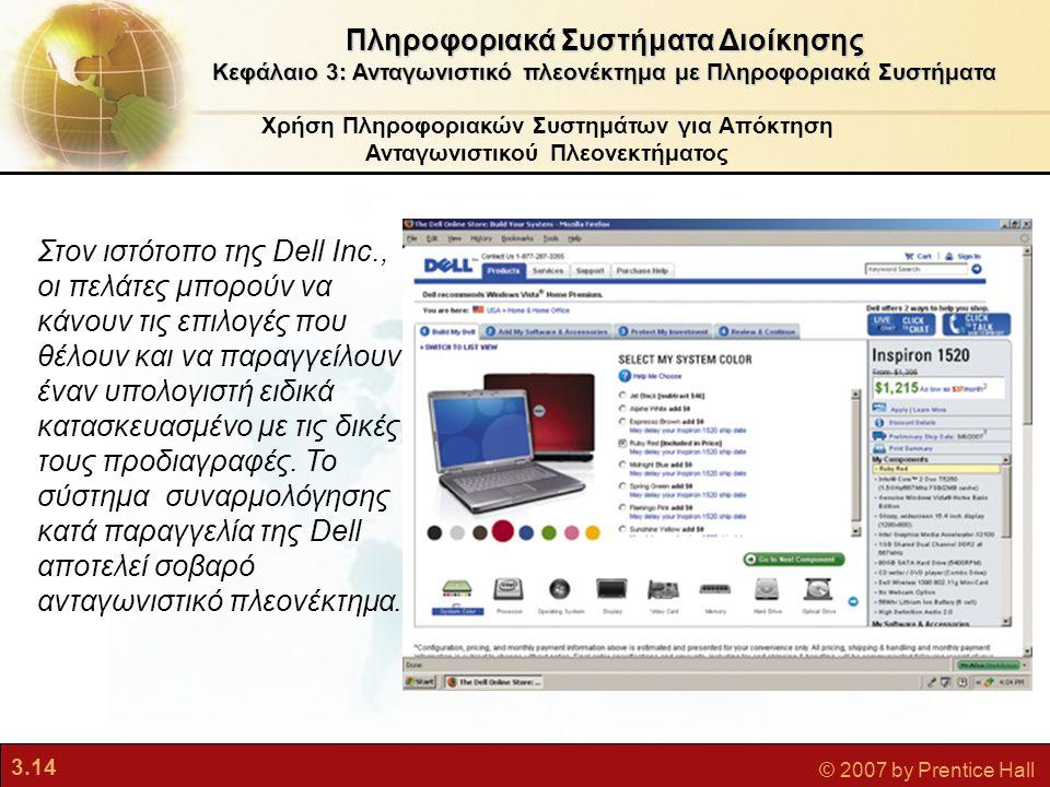 3.14 © 2007 by Prentice Hall Χρήση Πληροφοριακών Συστημάτων για Απόκτηση Ανταγωνιστικού Πλεονεκτήματος Πληροφοριακά Συστήματα Διοίκησης Κεφάλαιο 3: Αν