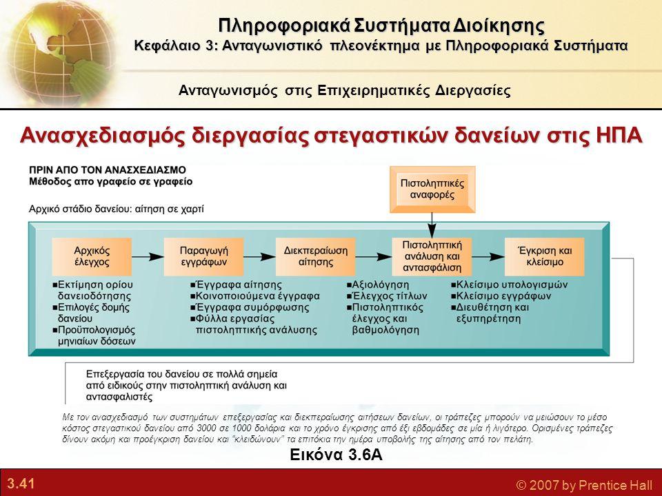 3.41 © 2007 by Prentice Hall Ανασχεδιασμός διεργασίας στεγαστικών δανείων στις ΗΠΑ Πληροφοριακά Συστήματα Διοίκησης Κεφάλαιο 3: Ανταγωνιστικό πλεονέκτ