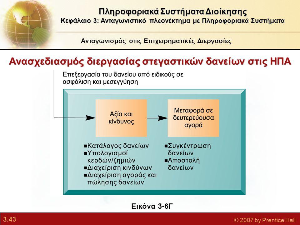 3.43 © 2007 by Prentice Hall Ανασχεδιασμός διεργασίας στεγαστικών δανείων στις ΗΠΑ Πληροφοριακά Συστήματα Διοίκησης Κεφάλαιο 3: Ανταγωνιστικό πλεονέκτ