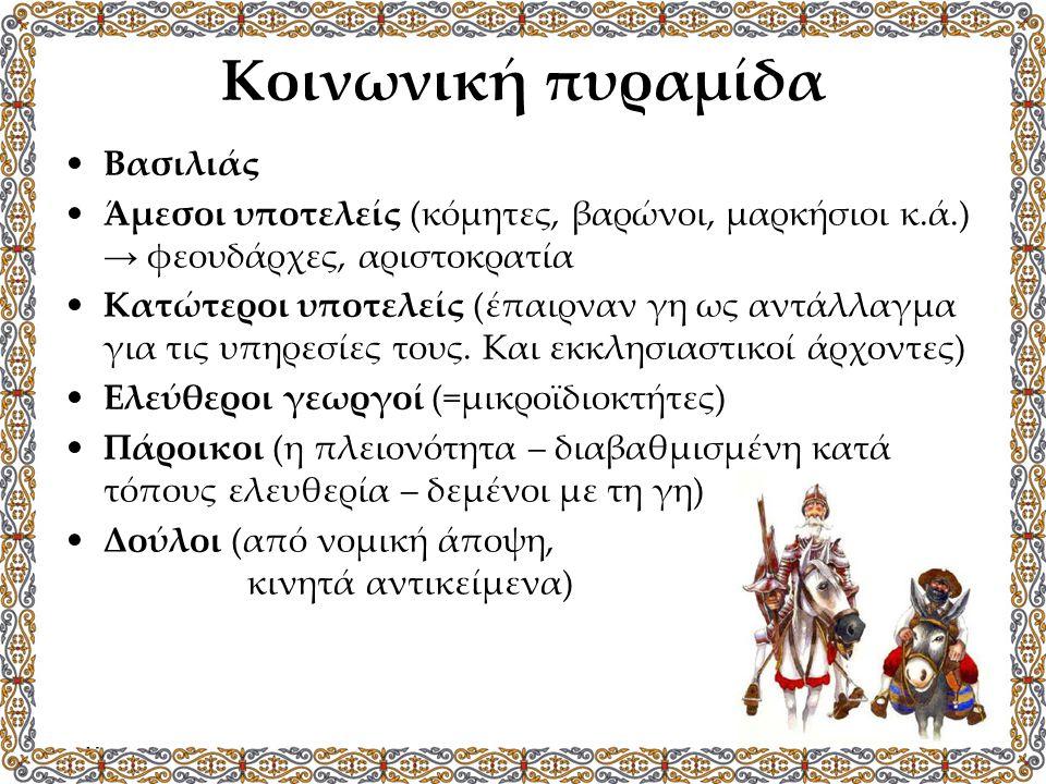 Κοινωνική πυραμίδα Βασιλιάς Άμεσοι υποτελείς (κόμητες, βαρώνοι, μαρκήσιοι κ.ά.) → φεουδάρχες, αριστοκρατία Κατώτεροι υποτελείς (έπαιρναν γη ως αντάλλα