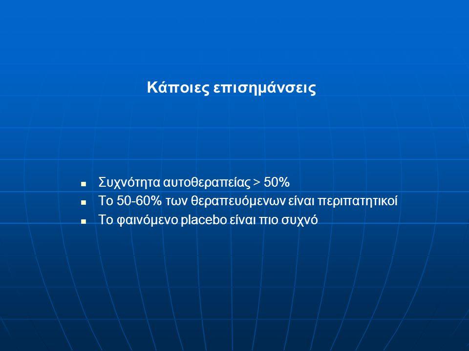 Κάποιες επισημάνσεις Συχνότητα αυτοθεραπείας > 50% Το 50-60% των θεραπευόμενων είναι περιπατητικοί Το φαινόμενο placebo είναι πιο συχνό