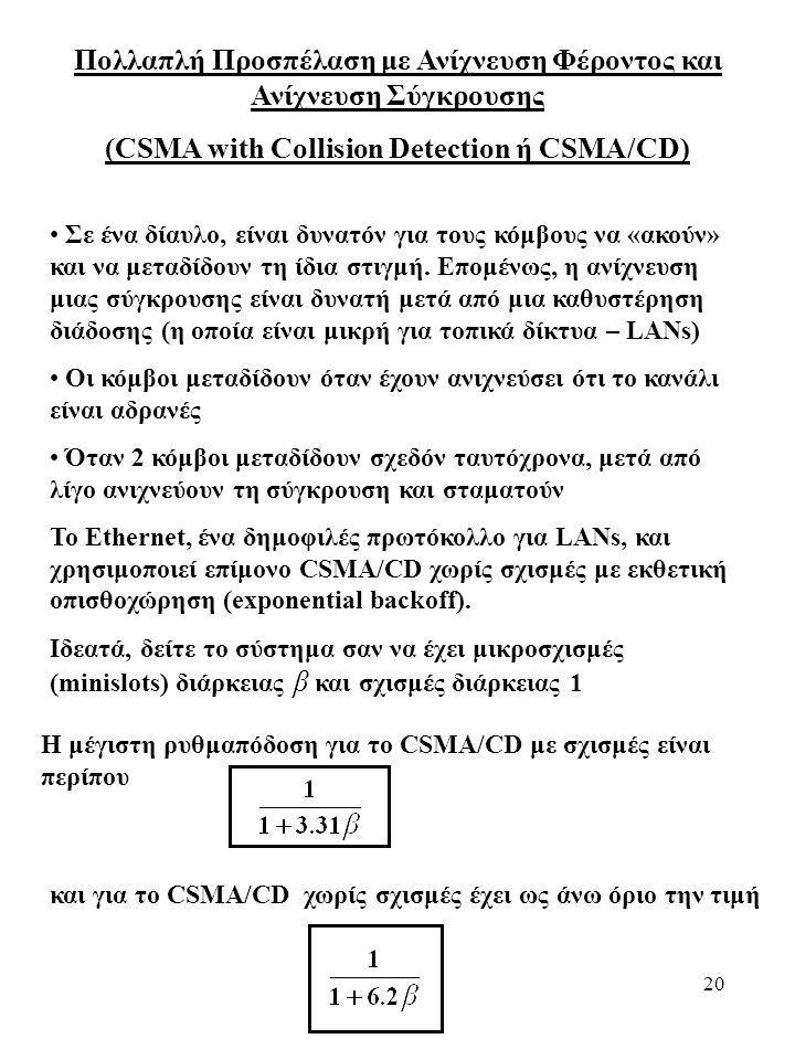 20 Πολλαπλή Προσπέλαση με Ανίχνευση Φέροντος και Ανίχνευση Σύγκρουσης (CSMA with Collision Detection ή CSMA/CD) Σε ένα δίαυλο, είναι δυνατόν για τους