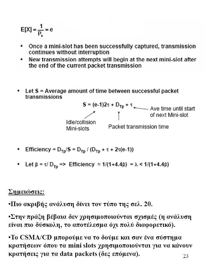 23 Σημειώσεις: Πιο ακριβής ανάλυση δίνει τον τύπο της σελ. 20. Στην πράξη βέβαια δεν χρησιμοποιούνται σχισμές (η ανάλυση είναι πιο δύσκολη, το αποτέλε