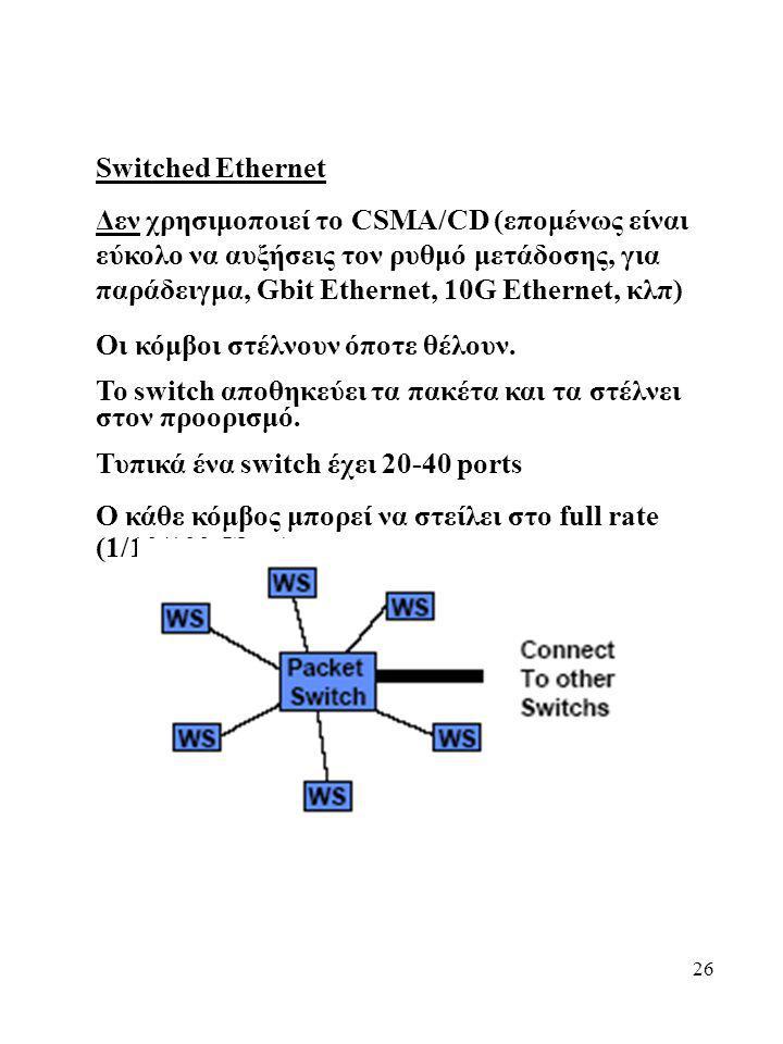 26 Switched Ethernet Δεν χρησιμοποιεί το CSMA/CD (επομένως είναι εύκολο να αυξήσεις τον ρυθμό μετάδοσης, για παράδειγμα, Gbit Ethernet, 10G Ethernet,