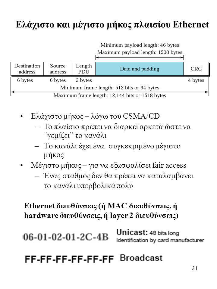 """31 Ελάχιστο και μέγιστο μήκος πλαισίου Ethernet Ελάχιστο μήκος – λόγω του CSMA/CD –Το πλαίσιο πρέπει να διαρκεί αρκετά ώστε να """"γεμίζει"""" το κανάλι –Tο"""