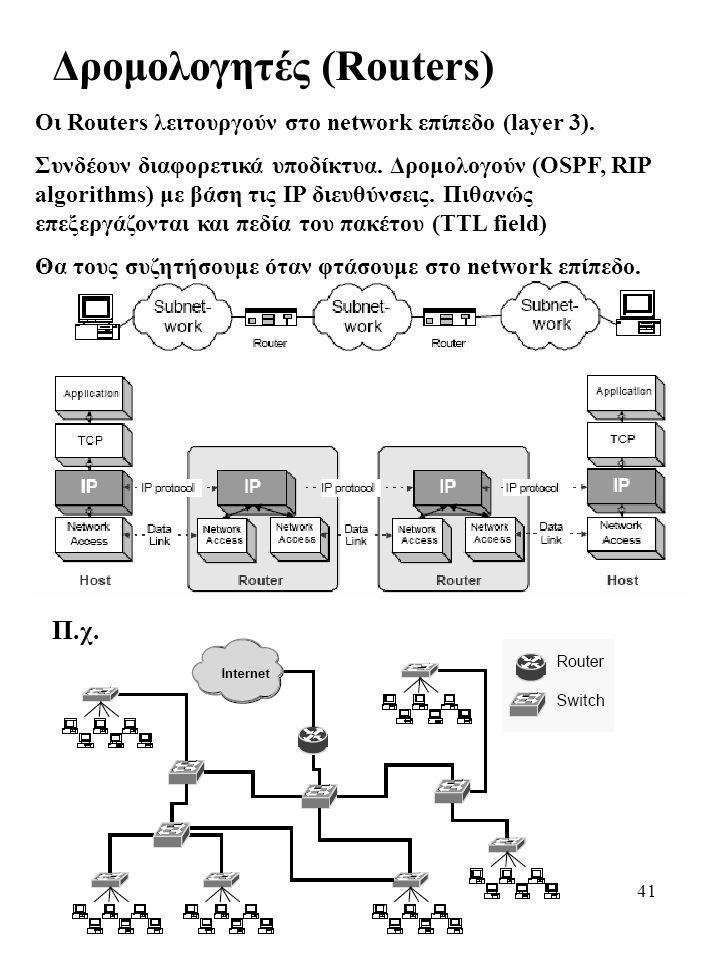 41 Δρομολογητές (Routers) Οι Routers λειτουργούν στο network επίπεδο (layer 3). Συνδέουν διαφορετικά υποδίκτυα. Δρομολογούν (OSPF, RIP algorithms) με