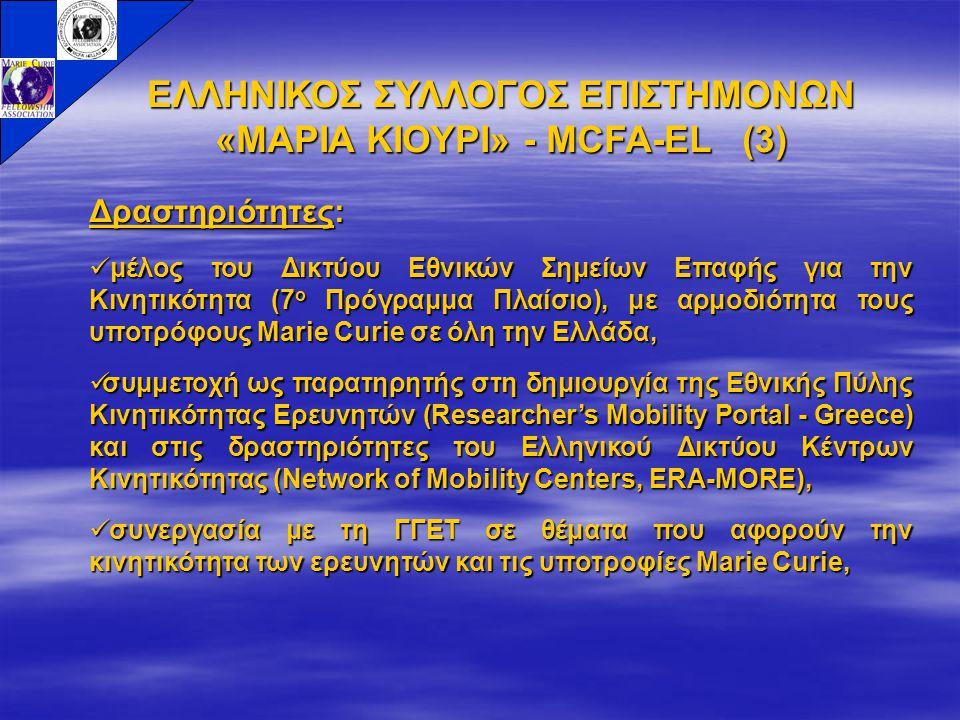 ΕΛΛΗΝΙΚΟΣ ΣΥΛΛΟΓΟΣ ΕΠΙΣΤΗΜΟΝΩΝ «ΜΑΡΙΑ ΚΙΟΥΡΙ» - MCFA-EL (3) Δραστηριότητες: μέλος του Δικτύου Εθνικών Σημείων Επαφής για την Κινητικότητα (7 ο Πρόγραμμα Πλαίσιο), με αρμοδιότητα τους υποτρόφους Marie Curie σε όλη την Ελλάδα, μέλος του Δικτύου Εθνικών Σημείων Επαφής για την Κινητικότητα (7 ο Πρόγραμμα Πλαίσιο), με αρμοδιότητα τους υποτρόφους Marie Curie σε όλη την Ελλάδα, συμμετοχή ως παρατηρητής στη δημιουργία της Εθνικής Πύλης Κινητικότητας Ερευνητών (Researcher's Mobility Portal - Greece) και στις δραστηριότητες του Ελληνικού Δικτύου Κέντρων Κινητικότητας (Network of Mobility Centers, ERA-MORE), συμμετοχή ως παρατηρητής στη δημιουργία της Εθνικής Πύλης Κινητικότητας Ερευνητών (Researcher's Mobility Portal - Greece) και στις δραστηριότητες του Ελληνικού Δικτύου Κέντρων Κινητικότητας (Network of Mobility Centers, ERA-MORE), συνεργασία με τη ΓΓΕΤ σε θέματα που αφορούν την κινητικότητα των ερευνητών και τις υποτροφίες Marie Curie, συνεργασία με τη ΓΓΕΤ σε θέματα που αφορούν την κινητικότητα των ερευνητών και τις υποτροφίες Marie Curie,