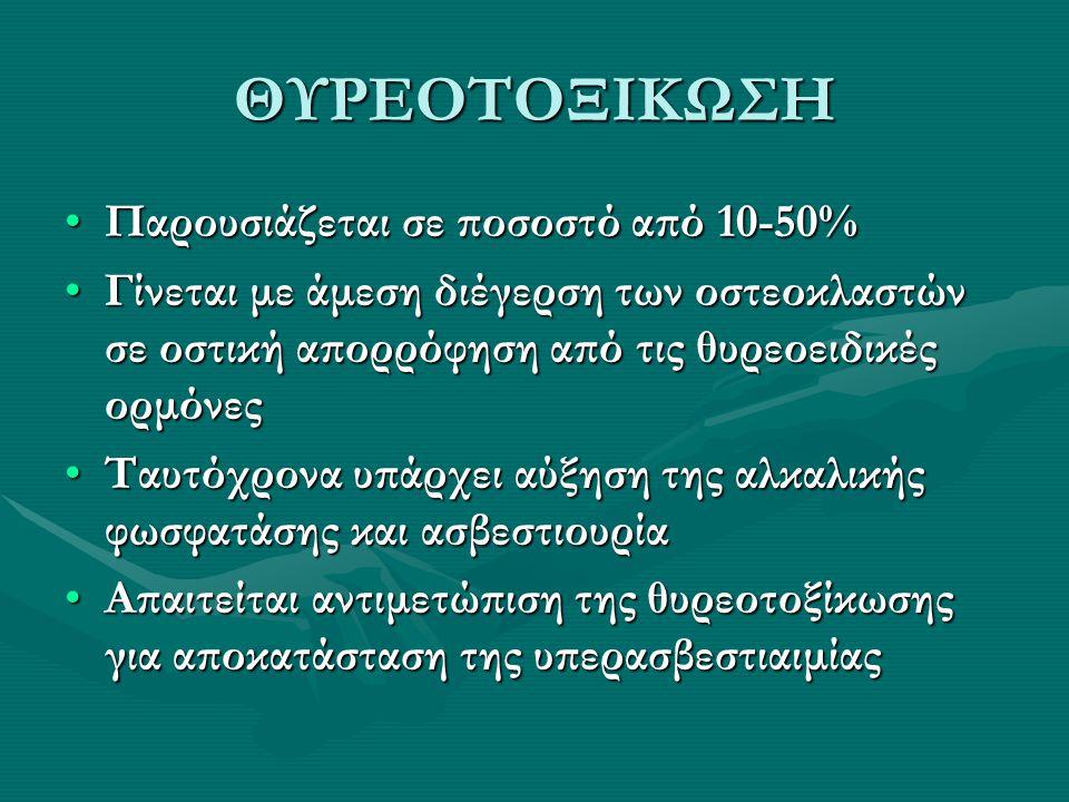 ΘΥΡΕΟΤΟΞΙΚΩΣΗ Παρουσιάζεται σε ποσοστό από 10-50%Παρουσιάζεται σε ποσοστό από 10-50% Γίνεται με άμεση διέγερση των οστεοκλαστών σε οστική απορρόφηση α