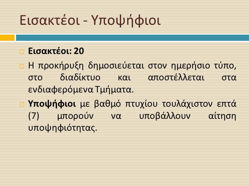 Εισακτέοι - Υποψήφιοι  Εισακτέοι : 20  Η προκήρυξη δημοσιεύεται στον ημερήσιο τύπο, στο διαδίκτυο και αποστέλλεται στα ενδιαφερόμενα Τμήματα.