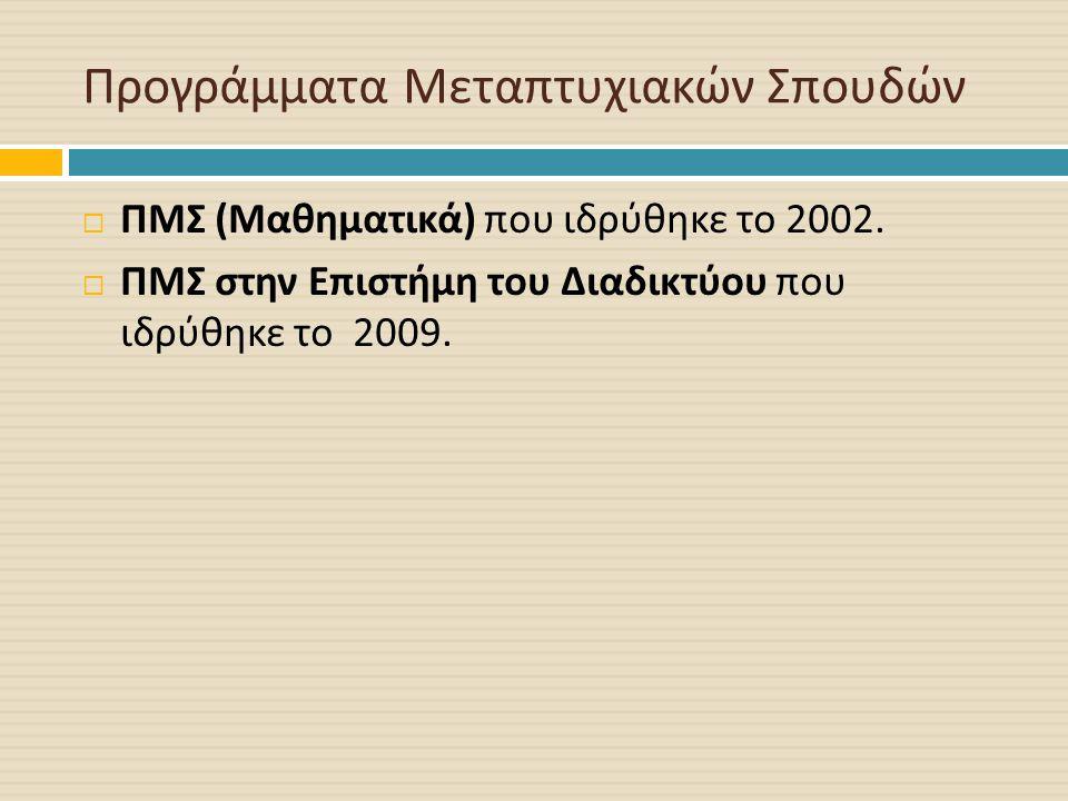 Προγράμματα Μεταπτυχιακών Σπουδών  ΠΜΣ ( Μαθηματικά ) που ιδρύθηκε το 2002.