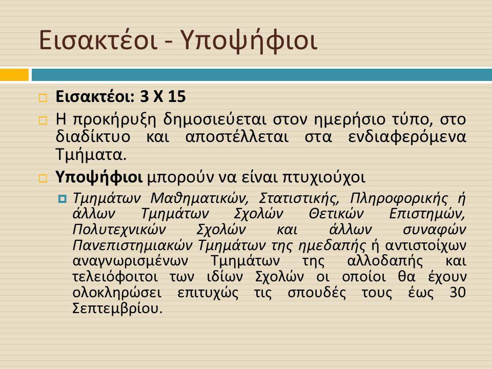 Εισακτέοι - Υποψήφιοι  Εισακτέοι : 3 Χ 15  Η προκήρυξη δημοσιεύεται στον ημερήσιο τύπο, στο διαδίκτυο και αποστέλλεται στα ενδιαφερόμενα Τμήματα.