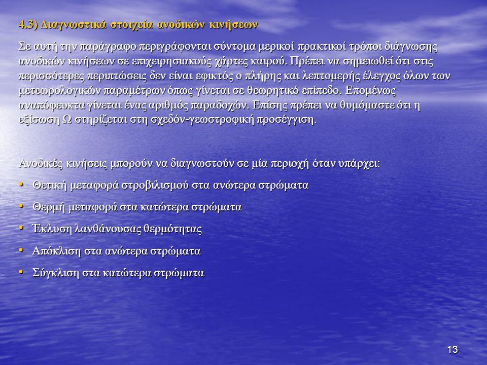 13 4.3) Διαγνωστικά στοιχεία ανοδικών κινήσεων Σε αυτή την παράγραφο περιγράφονται σύντομα μερικοί πρακτικοί τρόποι διάγνωσης ανοδικών κινήσεων σε επι