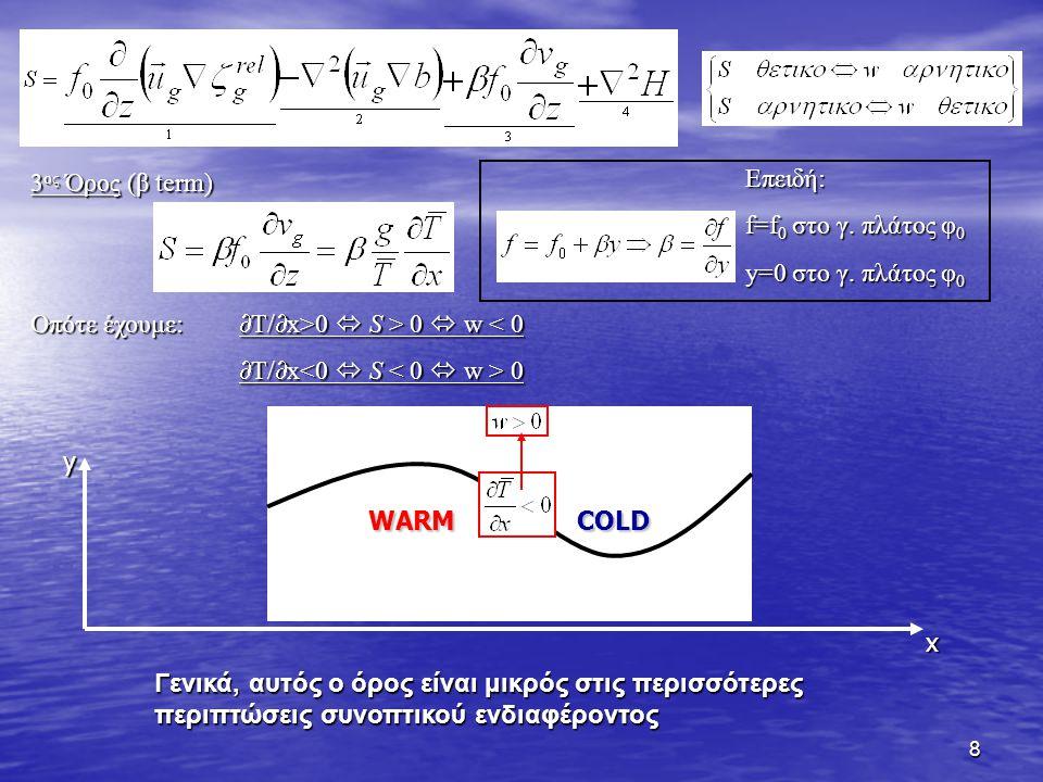 8 3 ος Όρος (β term) Οπότε έχουμε:  T/  x>0  S > 0  w 0  S > 0  w < 0  T/  x 0 Γενικά, αυτός ο όρος είναι μικρός στις περισσότερες περιπτώσεις