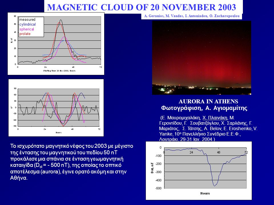 MAGNETIC CLOUD OF 20 NOVEMBER 2003 AURORA IN ATHENS (Ε.