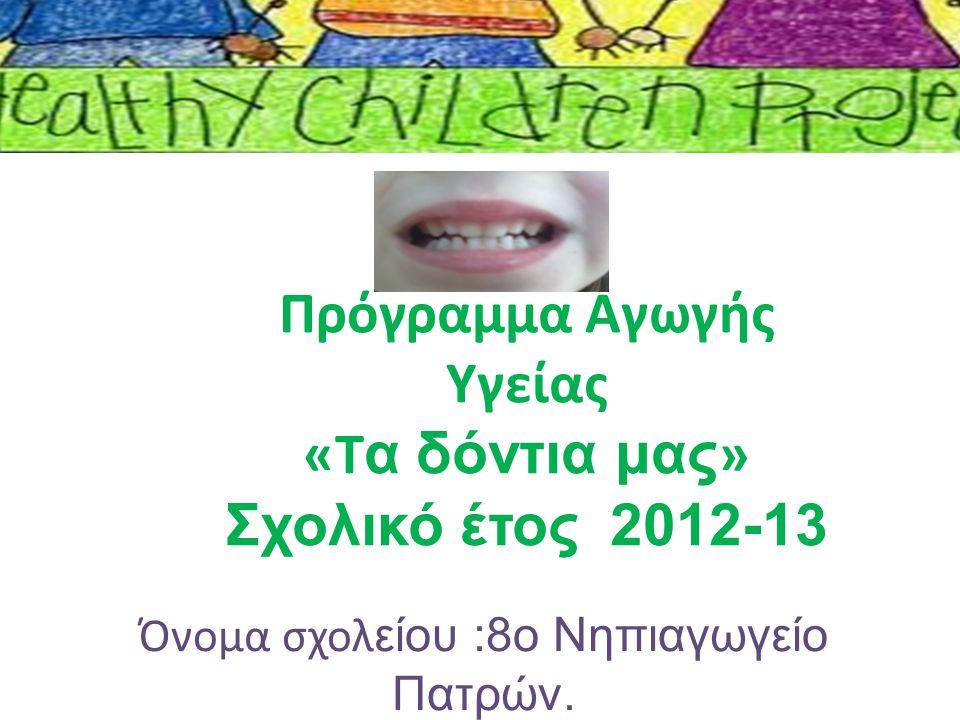Πρόγραμμα Αγωγής Υγείας «T α δόντια μας » Σχολικό έτος 2012-13 Όνομα σχολ είου :8o Νηπιαγωγείο Πατρών.