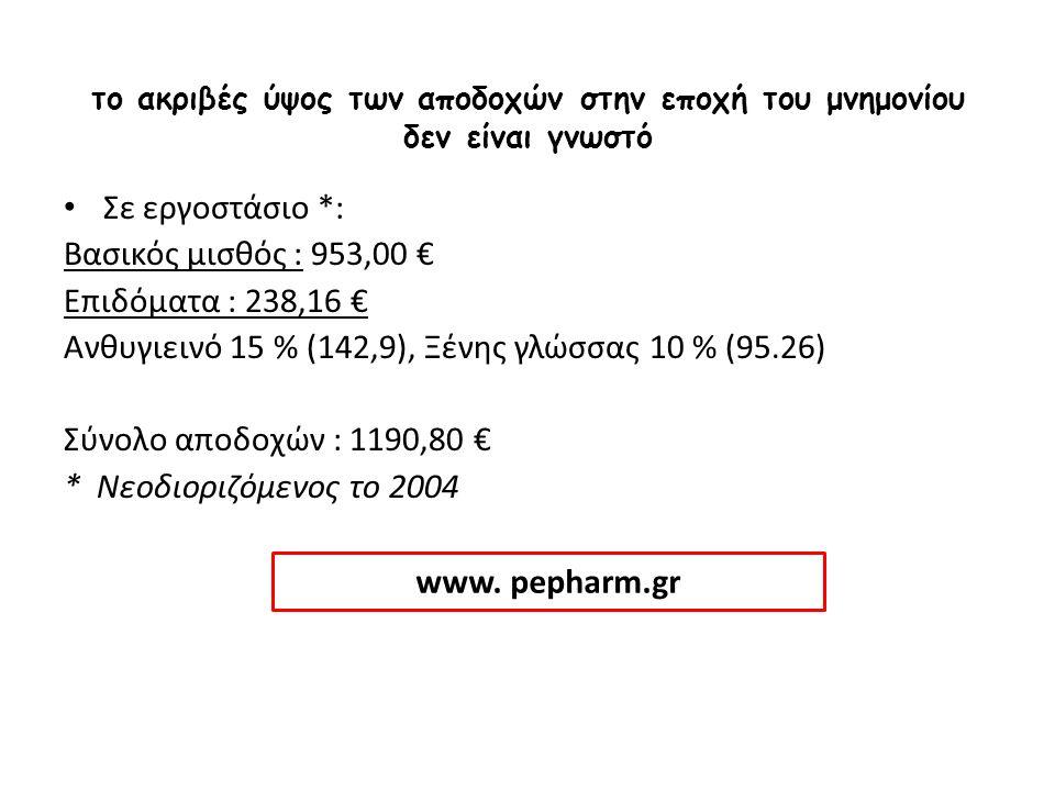 το ακριβές ύψος των αποδοχών στην εποχή του μνημονίου δεν είναι γνωστό Σε εργοστάσιο *: Σε εργοστάσιο *: Βασικός μισθός : 953,00 € Επιδόματα : 238,16