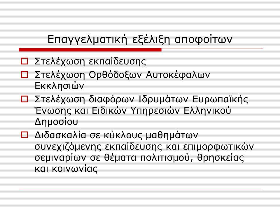 Επαγγελματική εξέλιξη αποφοίτων  Στελέχωση εκπαίδευσης  Στελέχωση Ορθόδοξων Αυτοκέφαλων Εκκλησιών  Στελέχωση διαφόρων Ιδρυμάτων Ευρωπαϊκής Ένωσης και Ειδικών Υπηρεσιών Ελληνικού Δημοσίου  Διδασκαλία σε κύκλους μαθημάτων συνεχιζόμενης εκπαίδευσης και επιμορφωτικών σεμιναρίων σε θέματα πολιτισμού, θρησκείας και κοινωνίας