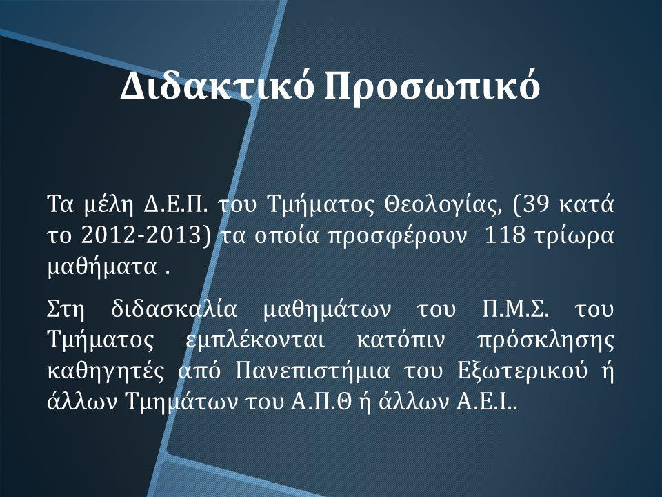 Διδακτικό Προσωπικό Τα μέλη Δ. Ε. Π. του Τμήματος Θεολογίας, (39 κατά το 2012-2013) τα οποία προσφέρουν 118 τρίωρα μαθήματα. Στη διδασκαλία μαθημάτων